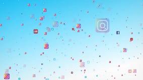 Flygsymboler av det populäraste sociala massmedia i världen, liksom facebook, instagram, youtube, skype, kvittrande och vektor illustrationer