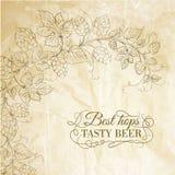 Flygtur och smakligt öl över gammalt papper. vektor illustrationer