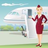Flygvärdinna med bakgrunden av det kommersiella flygplanet stock illustrationer