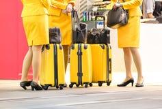 Flygvärdinnor på den internationella flygplatsen - arbetande lopp Arkivfoto
