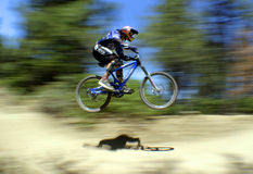 Flyin' high. Mountain bike racer catching air Stock Photo