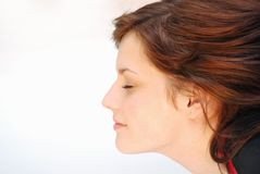 Flying. Perfect women face side profile Royalty Free Stock Photography