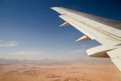Flying. View from airplane window, free space for your text Stock Photography