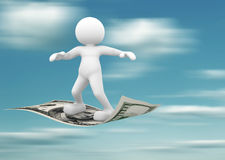 Flying. 3d people - human character flying on U.S. dollars. 3d render illustration Royalty Free Stock Photography