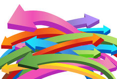 Flying 3D Arrows. Set of overlapping and curving 3D arrows Stock Photo