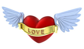 Flying 3D love red heart. Royalty Free Stock Photos