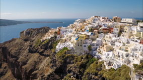 Flying above above Oia, Santorini Island stock video footage