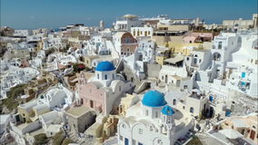 Flying above above Oia, Santorini Island stock footage