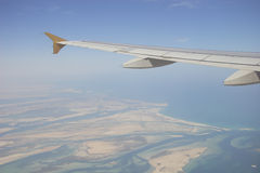 Flying above Abu-Dhabi. By Etihad Airways, in northern direction Stock Photography