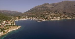 Flying above Agia Efimia village in Kefalonia stock video