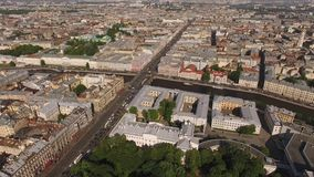 Flying above city center of St. Petersburg. And Nevsky avenue stock footage