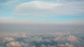 Flying above clouds. skyline with horizon line stock footage