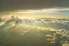 Flying above the clouds. view from the airplane, soft focus Royalty Free Stock Image