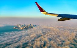 Flying above Doha - Qatar, the Persian Gulf Stock Image
