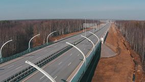Flying Above Highway with Traffic Cars stock footage