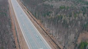 Flying Above Highway with Traffic Cars stock video footage