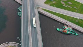 Flying Above Highway with Traffic Cars stock video