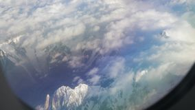 Flying above the Himalayas stock footage