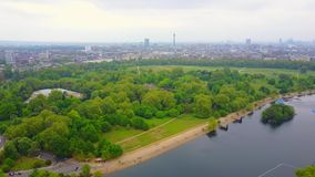 Flying above Hyde Park in London stock video footage