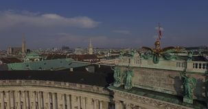 Flying above Imperial Palace  Hofburg, Vienna stock video footage
