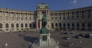 Flying above Imperial Palace  Hofburg, Vienna stock video