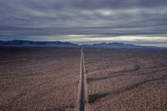 Flying over Valley Of Fire Road stock images