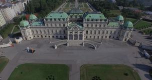 Flying above the majestic Belvedere in Vienna, Austria stock video footage