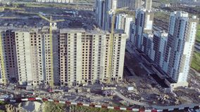 Flying Above Multi-storey Unfinished Building stock footage