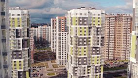 Flying Above Multi-storey Unfinished Building stock video footage