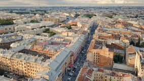 Cityscape of St. Petersburg. Flying above roofs of St. Petersburg, Russia stock footage