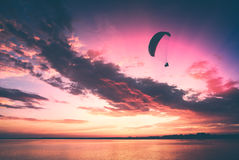 Flying above the sea. Instagram stylisation Stock Image