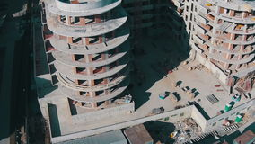 Flying Above Unfinished Building stock footage
