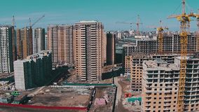 Flying Above Unfinished Buildings stock video footage