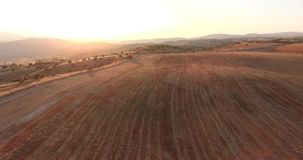 Flying above valley Ovce pole -Macedonia. Beautiful view of  valley Ovce pole -Macedonia. Filmed in sunset from the air in 4K stock video