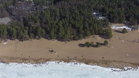 Flying above Winter Beach stock footage