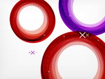 Flying abstract circles, vector geometric background, color air bubbles, web banner template, business or technology. Presentation background or elements Stock Photography