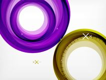 Flying abstract circles, vector geometric background, color air bubbles, web banner template, business or technology. Presentation background or elements Royalty Free Stock Image