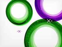 Flying abstract circles, vector geometric background, color air bubbles, web banner template, business or technology. Presentation background or elements stock illustration