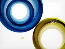 Flying abstract circles, vector geometric background, color air bubbles, web banner template, business or technology. Presentation background or elements Stock Images