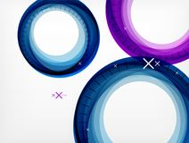 Flying abstract circles, vector geometric background, color air bubbles, web banner template, business or technology. Presentation background or elements Royalty Free Stock Photo
