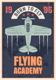 Flying Academy Retro Style Poster. Of blue airplane with propeller on black textural background vector illustration stock illustration