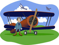 Flying Ace. Illustration of a world war one flying ace standing next to his bi-plane Stock Photography