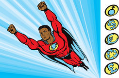 Flying into action. Super guy flying into action Stock Photography