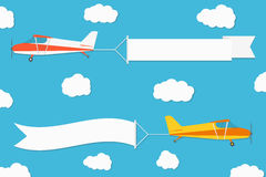 Flying advertising banner. Planes with horizontal banners on blue sky background. Vector Royalty Free Stock Photography