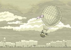 Flying aerostat. Aerostat flying in th sky over the old european town. Illustration is made in the retro style Royalty Free Stock Images