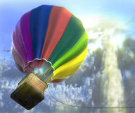 Flying aerostat with basket Royalty Free Stock Photo