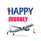 Flying Air Plane with Happy Journey Header. Wishes For a Good Trip. Flying Airplane with Happy Journey Header. Wishes For a Good Trip.Concept For Travel Company vector illustration
