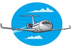 Flying air private jet. Illustration of flying air private jet in the sky Stock Photo