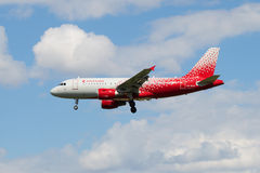 Flying Airbus A319-112 VQ-BCO of the airline Russia in new color Royalty Free Stock Image