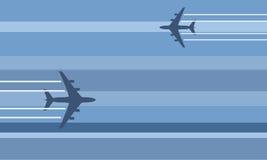 Flying aircraft stylized illus Royalty Free Stock Image